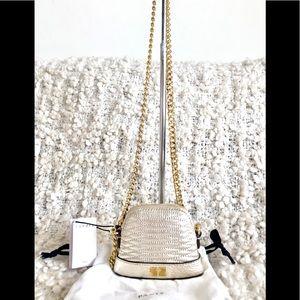 Sandro Paris Mini Baby Thelma Gold Leather Bag